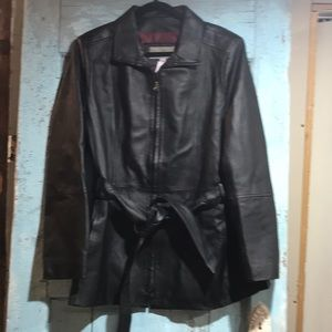 Croft & Barrow leather belted  jacket LNC